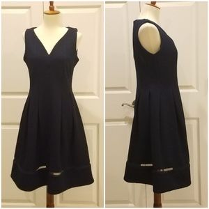 Taylor Deep Navy Textured Fit and Flare Dress